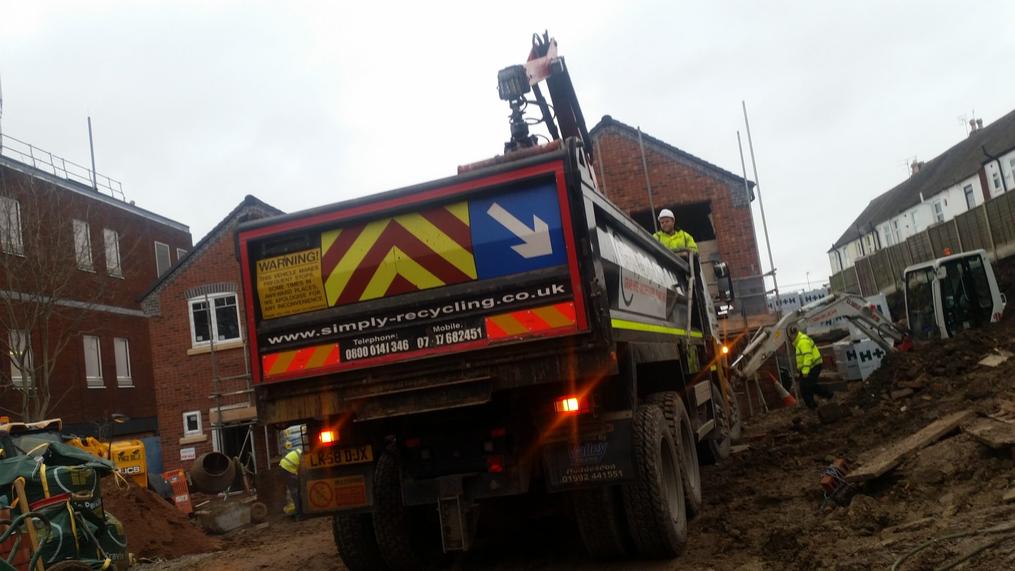 Grab Hire Lorry at a site in Halesowen, Nr. Birminham West Midlands.
